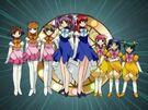 Tenshi no Shippo Mika, Ran, Kurumi, Akane, Nana, Midori, Momo and Ruru transformation pose