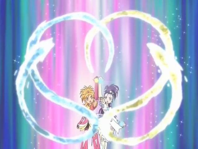 File:Futari wa Pretty Cure Splash Star Cure Bloom and Egret in the Spiral Heart Splash attack.jpg