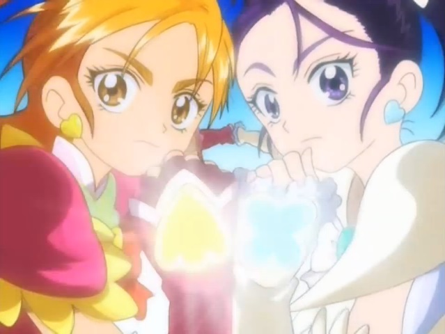 File:Futari wa Pretty Cure Splash Star Cure Bloom and Cure Egret in the Twin Stream Splash attack.jpg
