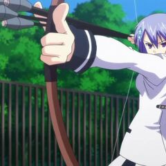 Miyako releasing a volley of arrows (Anime)