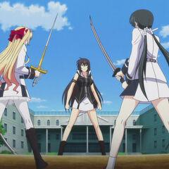 Everyone, includes Miyako vs Momoyo to exercise their resolve. (Anime)