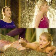 Sirena gets hit by a sprinkler