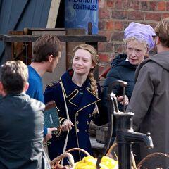 Mia Wasikowska, on set of the film.