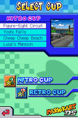 Selecting a Cup - Mario Kart DS (Prototype)