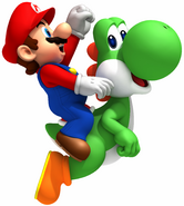 Mario Yoshi Artwork - New Super Mario Bros. Wii