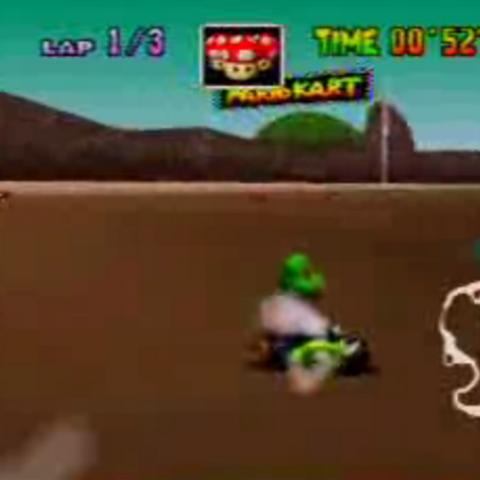 Yoshi racing on Koopa Troopa Beach.