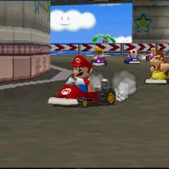 Mario, racing on the track.