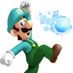 Custom artwork of Ice Luigi plus snowball.