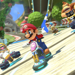Mario and some other racers, at the beginning of the anti-gravity section.