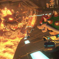 The giant flaming Bowser Monument.