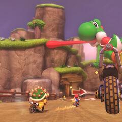 Yoshi racing on the course.