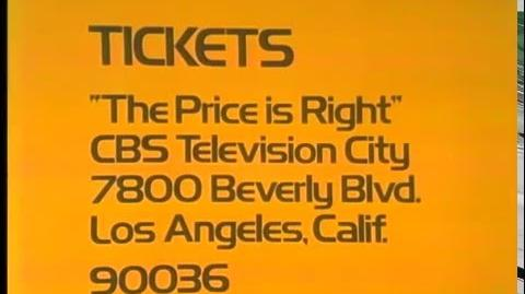 The Price is Right ticket plug, 1973