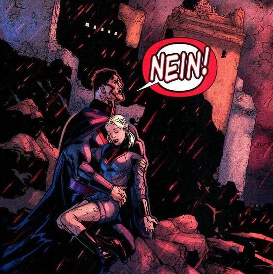 Overgirl morta nos braços do Overman, em Crise Final #7. Arte de Doug Mahnke.