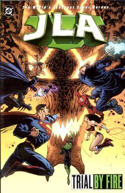 Cover for the JLA: Trial by Fire Trade Paperback