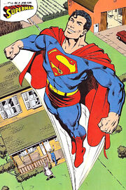 Clark first tries on the Superman costume.