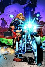 Black Canary drives a young girl through the streets on her motorcycle which she also uses for combat purposes.