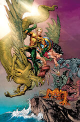 Aquaman and Wonder Woman against the giant born