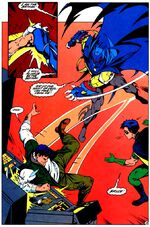 Bruce fights AzBats in the Batcave