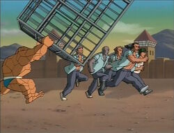 Thing Chases Prisoners With Cage