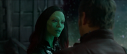 Gamora talking to Star-Lord