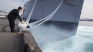 Blizzard freezing a ship