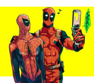 Deadpool takes a picture of him and Spidey