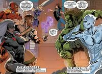 Avengers (Earth-23291) and Defenders (Earth-23291) from Secret Wars 2099 Vol 1 3 0001