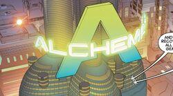Alchemax Tower from Secret Wars 2099 Vol 1 1 001