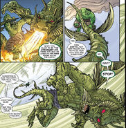 Fin Fang Foom (Earth-616) and Bruce Banner (Earth-616) from Hulk vs. Fin Fang Foom Vol 1 1 0002