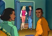 Mrs. Farrell & Robert Farrell & Felicia Hardy & Peter Parker (Earth-92131)
