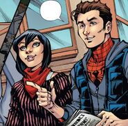 Cindy Moon (Jessica Drew) (Earth-616) and Peter Parker (Tony Richards) (Earth-616) from Amazing Spider-Man & Silk- The Spider(fly) Effect Infinite Comic Vol 1 4 001