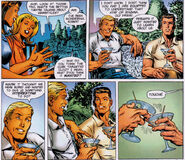 Mister Fantastic and the Sentry discuss the Cosmic Cube from Sentry Fantastic Four Vol 1 1