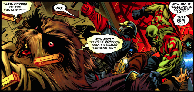 File:Rocket Raccoon (Earth-616), Peter Quill (Earth-616), and Arthur Douglas (Earth-616) from Guardians of the Galaxy Vol 2 1.png