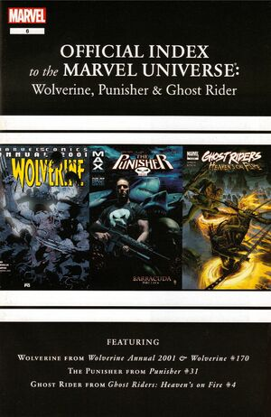 Wolverine, Punisher & Ghost Rider Official Index to the Marvel Universe Vol 1 6
