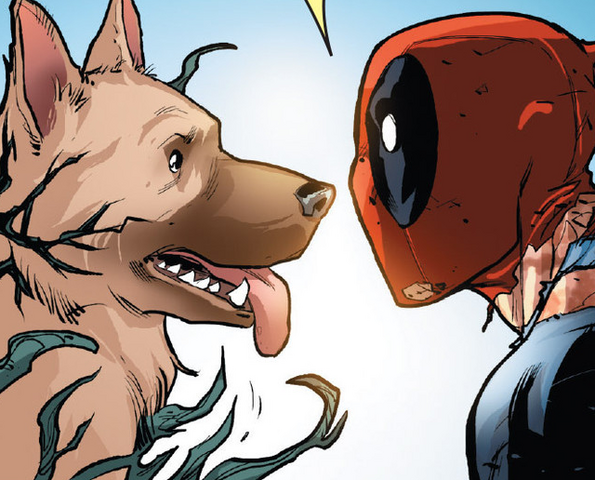File:Wade Wilson (Earth-616) and Lasher (War dog) (Earth-616) from Deadpool vs. Carnage Vol 1 4 001.png
