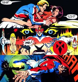 Byron Bra-Dhok (Earth-794) and Elizabeth Braddock (Earth-616) from Captain Britain Vol 2 6 0001