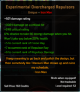 Experimental Overcharged Repulsors