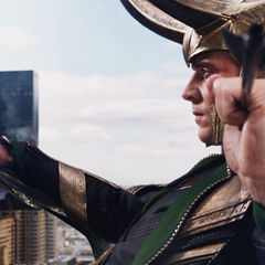 Loki caught Hawkeye's arrow.