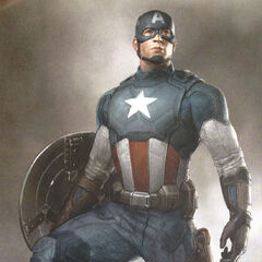 Concept art of Captain America's golden age suit.