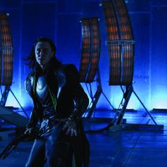 Loki attacking S.H.I.E.L.D's base.
