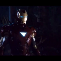Iron Man in the woods.