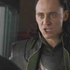 Loki talking to Tony Stark.