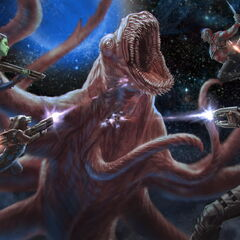 The Guardians of the Galaxy fighting the <a href=