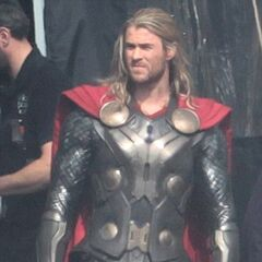 Chris Hemsworth on set as Thor.
