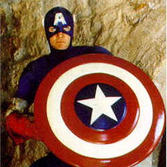 Captain America with his shield.