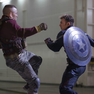 Cap's battered shield in the beginning