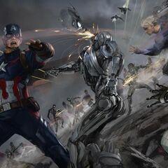 Captain America and Quicksilver vs. Ultron sentinels