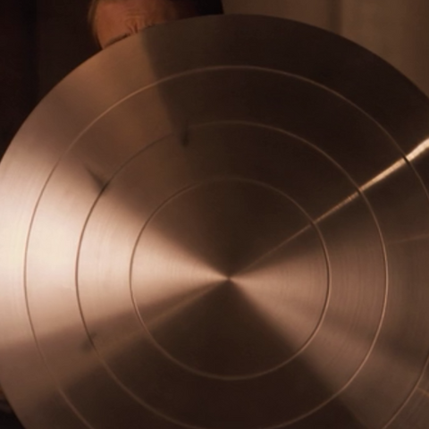 Captain America's vibranium shield before it was painted.