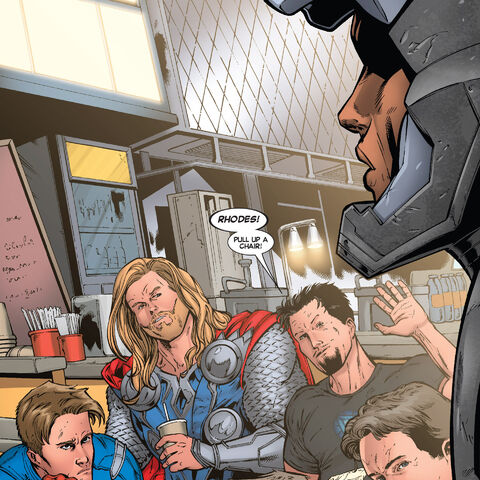 Rhodey meets up with the Avengers
