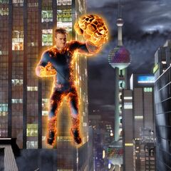 Johnny using the combined powers of the Fantastic Four.